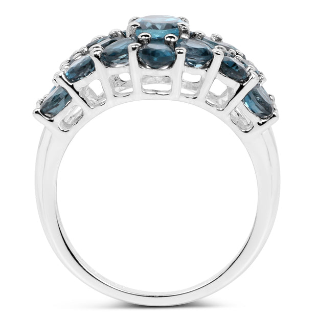 4.24 Carat Genuine London Blue Topaz .925 Sterling Silver Ring - Joy of London Jewels