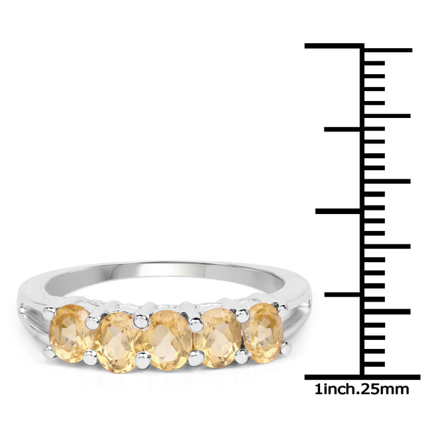 1.75 Carat Genuine Yellow Citrine .925 Sterling Silver Ring - stacking ring - birthstone ring - Joy of London Jewels