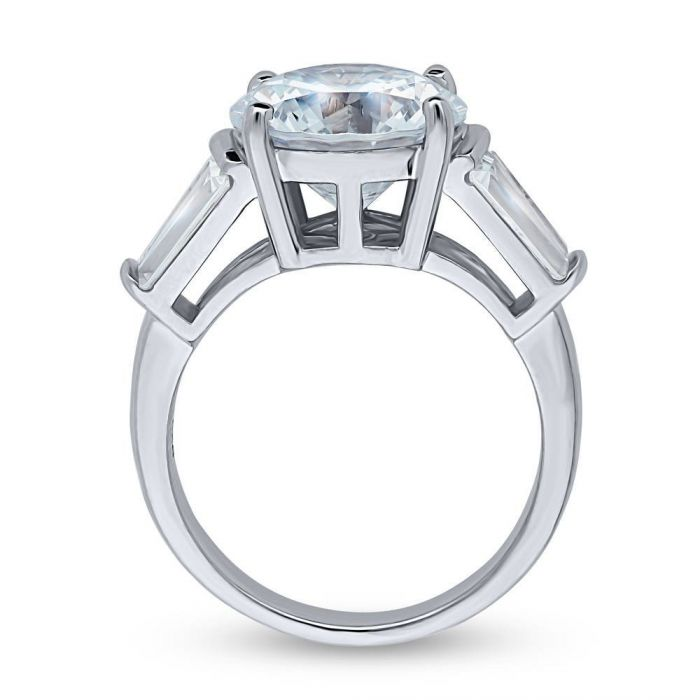 5.2CT Round Cut Russian Lab Diamond Baguette Engagement Ring - Joy of London Jewels