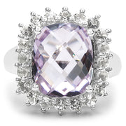 6.10 Carat Genuine Amethyst & White Topaz .925 Sterling Silver Ring