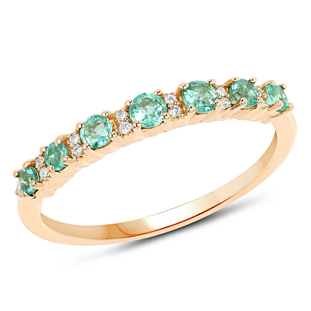 A 14K Yellow Gold Natural Zambian Green Emerald & Earth Mined Diamond Wedding Band Ring - Joy of London Jewels
