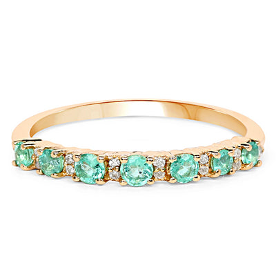 A 14K Yellow Gold Natural Zambian Green Emerald & Earth Mined Diamond Wedding Band Ring