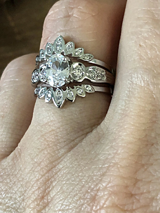 The Tombly II, A Perfect 3.5TCW Russian Lab Diamond Stackable Wedding Band Bridal Set