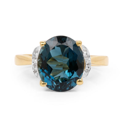 14K Yellow Gold 6.09CT Genuine London Blue Topaz & White Diamond Ring