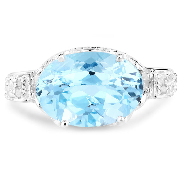 7.53 Carat Genuine Blue Topaz and White Diamond .925 Sterling Silver - Joy of London Jewels