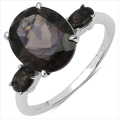 3.45 Carat Genuine Smoky Quartz .925 Sterling Silver Ring - Joy of London Jewels