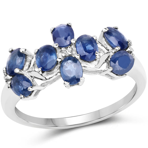 1.79 Carat Genuine Blue Sapphire and White Topaz .925 Sterling Silver Ring - Joy of London Jewels