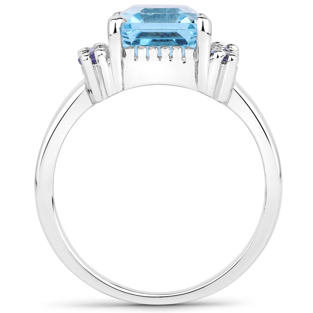 4.31 Carat Genuine Blue Topaz and Tanzanite .925 Sterling Silver Ring - Joy of London Jewels