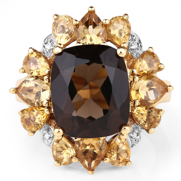 14K Yellow Gold Plated 7.10 Carat Genuine Smoky Quartz, Citrine Ring - Joy of London Jewels