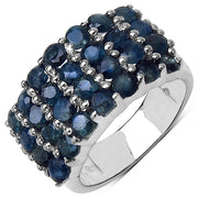 3.64 Carat Genuine Blue Sapphire .925 Sterling Silver Ring - Joy of London Jewels