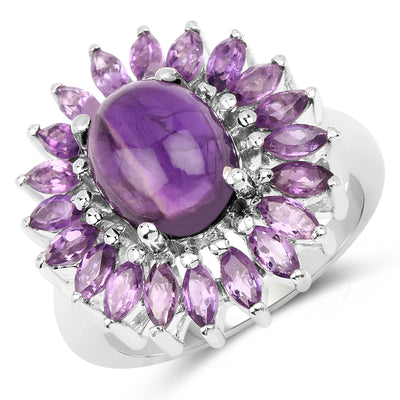 4.60 Carat Genuine Amethyst .925 Sterling Silver Ring