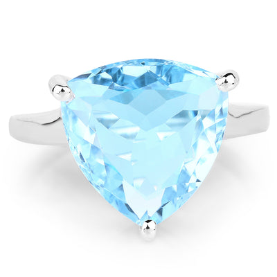 9.00 Carat Genuine Blue Topaz .925 Sterling Silver Solitaire Engagement Ring - Joy of London Jewels