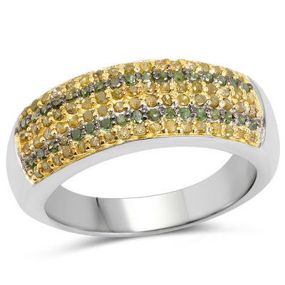0.43 Carat Genuine Green Diamond and Yellow Diamond .925 Sterling - Joy of London Jewels