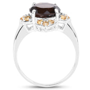 3.47 Carat Genuine Smoky Quartz and Citrine .925 Sterling Silver Ring - Joy of London Jewels
