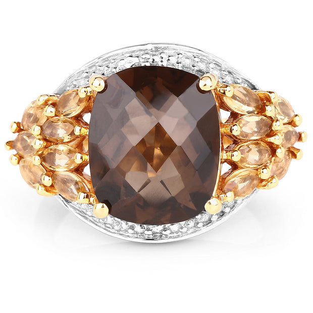 14K Yellow Gold Plated 5.44 Carat Genuine Smoky Quartz and Citrine - Joy of London Jewels
