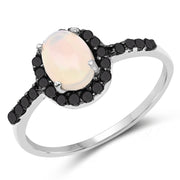 0.69 Carat Genuine Ethiopian Opal and Black Diamond .925 Sterling - Joy of London Jewels