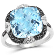 8.29 Carat Genuine Swiss Blue Topaz, Black Diamond & White Diamond - Joy of London Jewels