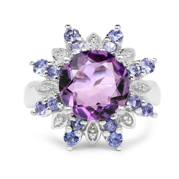 4.06 Carat Genuine Amethyst & Tanzanite .925 Sterling Silver Ring - Joy of London Jewels