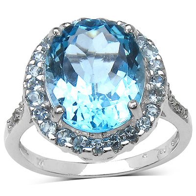 5.90 ct. t.w. Blue Topaz and White Topaz Ring in Sterling Silver - Joy of London Jewels