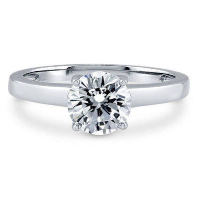 14K White Gold 1CT Round Cut Moissanite Diamond Solitaire Engagement Ring
