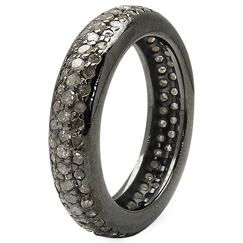1.13TCW Black Rhodium Earth Mined Black Diamond Wedding Band Full Eternity Ring - Joy of London Jewels