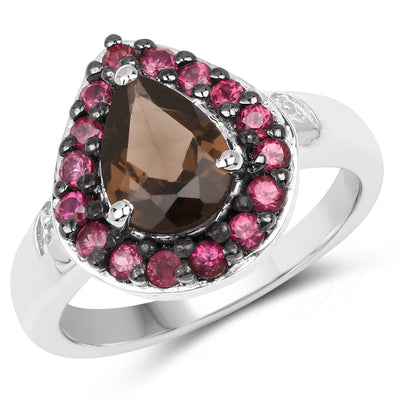 2.47 Carat Genuine Smoky Quartz and Rhodolite .925 Sterling Silver - Joy of London Jewels