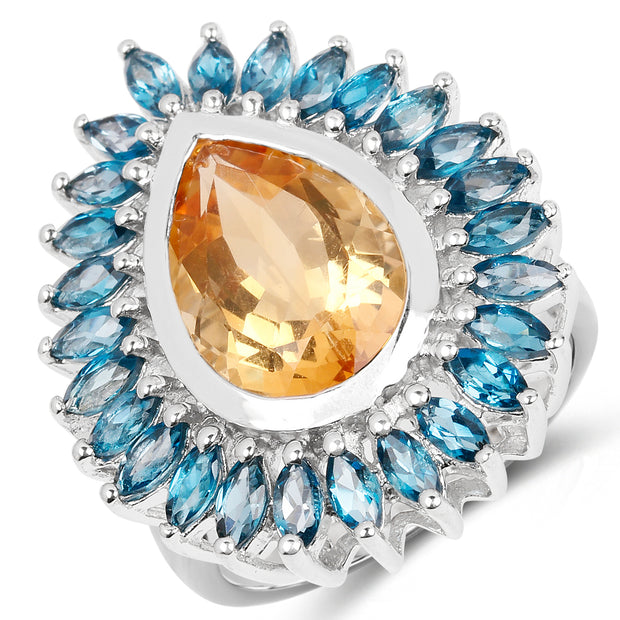 7.54 Carat Genuine Citrine & London Blue Topaz .925 Sterling Silver - Joy of London Jewels