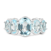 5.42 Carat Genuine Blue Topaz .925 Sterling Silver Ring - Joy of London Jewels