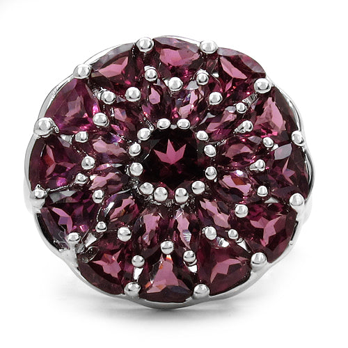 5.08 Carat Genuine Rhodolite .925 Sterling Silver Ring