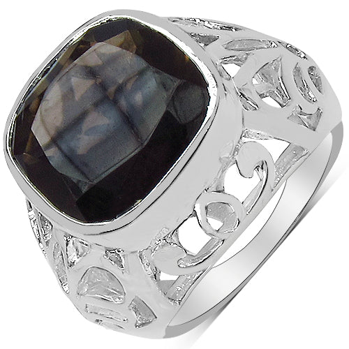 10.46 Carat Genuine Smoky Quartz & White Diamond .925 Sterling Silver - Joy of London Jewels