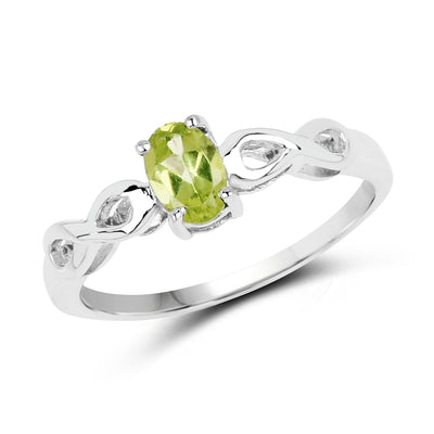 Natural .45CT Oval Cut Green Peridot Solitaire Ring