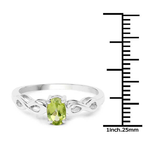SALE  Natural .45CT Oval Cut Green Peridot Solitaire Ring - Joy of London Jewels