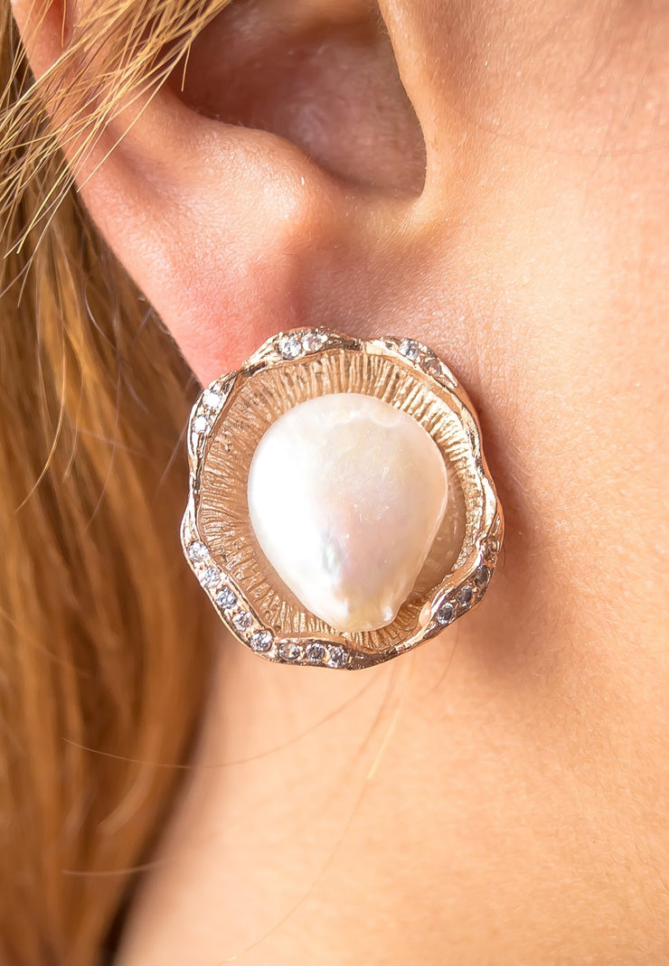 Raw Baroque Pearl Earrings - Joy of London Jewels