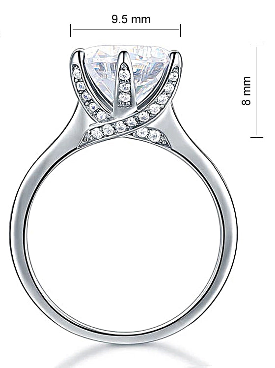 A Flawless 3CT Brilliant Round Cut Belgium Lab Diamond Engagement Ring