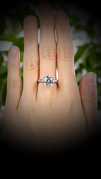 A Flawless 3CT Brilliant Round Cut Belgium Lab Diamond Engagement Ring - Joy of London Jewels