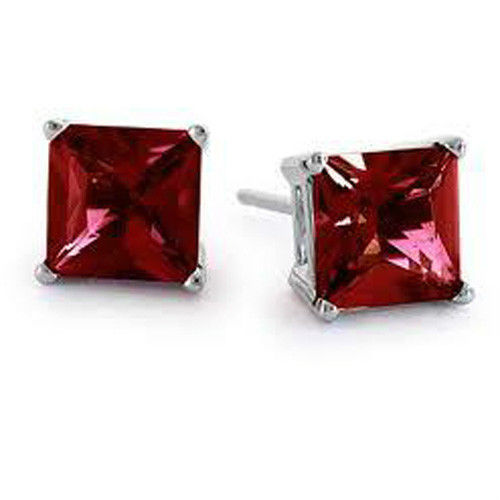 Princess Cut Red Ruby Stud Earrings - Joy of London Jewels