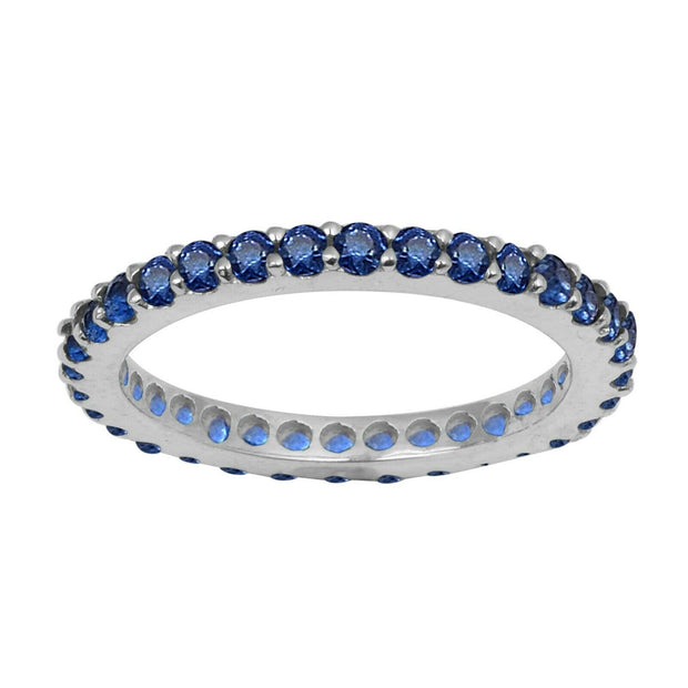Natural Blue Sapphire Full Eternity Stacking Ring - Joy of London Jewels
