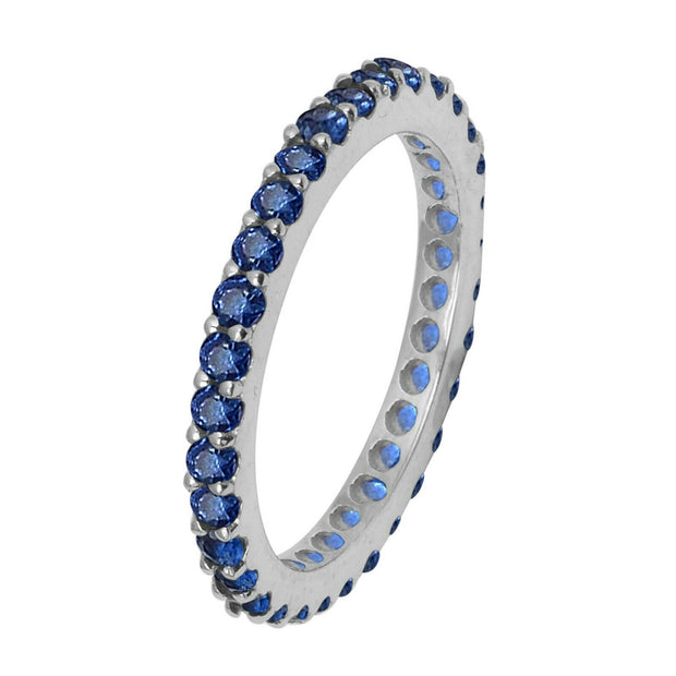 14K White Gold Natural Blue Sapphire Full Eternity Stacking Ring - Joy of London Jewels