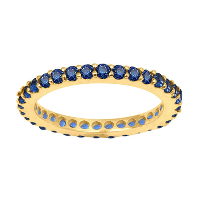 14K Yellow Gold Natural Blue Sapphire Full Eternity Stacking Ring - Joy of London Jewels