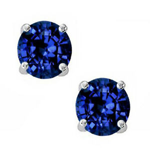 6mm Round Cut Blue Sapphire AAAAA Cubic Zirconia Stud Earrings