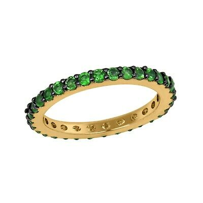 14K Yellow Gold Black Prong 2mm Colombian Natural Green Emerald Full Eternity Stacking Ring