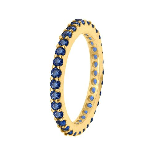 14K Yellow Gold Natural Blue Sapphire Full Eternity Stacking Ring