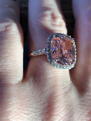 A Flawless Fancy Pink 5.8CT Cushion Cut Belgium Lab Diamond Halo Engagement Ring