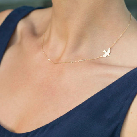 Celebrity Inspired Gold Delicate Bird Pendant Necklace