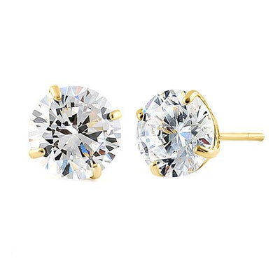 14K Yellow Gold 2CT Round Brilliant Cut Belgium Lab Stud Earrings