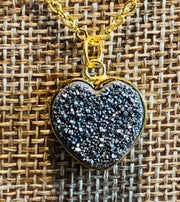 Natural Druzy Heart Necklace - Joy of London Jewels