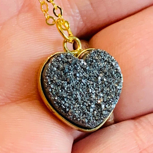 Natural Druzy Heart Necklace