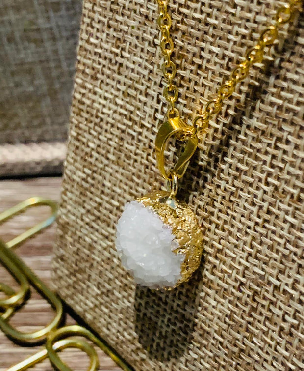Natural Druzy Agate Pendant White - Joy of London Jewels