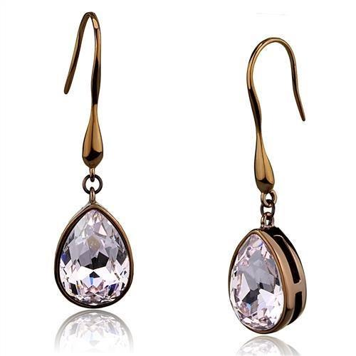 Coffee Stainless Steel Pear Cut Light Lavendar Earrings