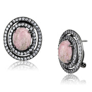 Oval Cut Pink Ruby Light Black Stainless Steel Earrings